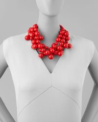 Kenneth Jay Lane   Red Beaded Cluster Necklace   Lyst