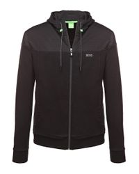 BOSS Green | Black Hooded Sweatshirt Jacket 'saggy 1' In Cotton Blend for Men | Lyst