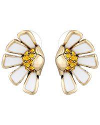 Betsey Johnson | White Flower Child Half Daisy Stud Earrings | Lyst
