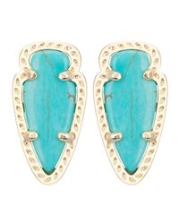 Kendra Scott | Blue Skylette Turquoise Glass Stud Earrings | Lyst