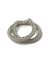 Atelier Swarovski | Metallic Bolster Bracelet Silver Night | Lyst
