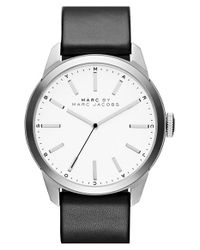 Marc By Marc Jacobs - Black 'dillon' Leather Strap Watch for Men - Lyst