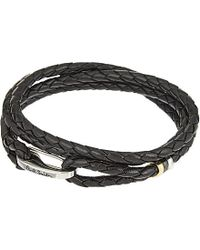 Paul Smith - Black Leather Wrap Bracelet for Men - Lyst