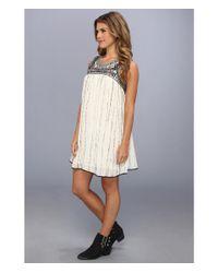 Free People - White Aztec Bib Dress - Lyst