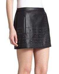 BCBGMAXAZRIA - Black Remi Grommet-detail Patent Leather Skirt - Lyst