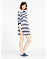 kate spade new york - Blue Striped Cotton Jersey Dress - Lyst