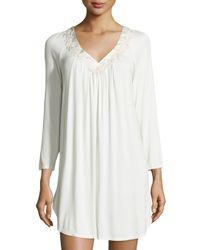 Oscar de la Renta | Metallic Luxe Jersey Knit Sleep Shirt | Lyst