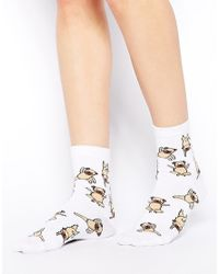 ASOS - White Socks with Yoga Pug Print - Lyst