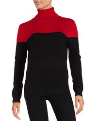Calvin Klein | Red Colorblocked Turtleneck | Lyst