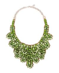 Valentino - Green Crystal And Silver-tone Necklace - Lyst