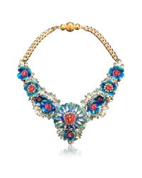Shourouk | Multicolor Apolonia Flower Aqua Necklace | Lyst