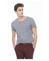 Express | Blue Twisted Slub Knit Crew Neck Pocket Tee for Men | Lyst