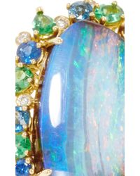 Pamela Huizenga - Blue 18K Gold Ring With Boulder Opal, Tsavorites, Sapphires, And Diamonds - Lyst
