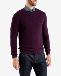 Ted Baker - Purple Textured Wool Jumper for Men - Lyst