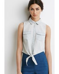 Forever 21 | Blue Knot-front Denim Shirt | Lyst