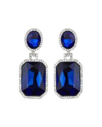Mikey - Blue Rectangle Stone Marquise Drop Earring - Lyst