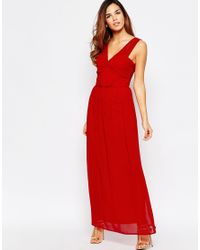 Elise Ryan | Red Ruched Maxi Dress With Open Lace Back Detail | Lyst