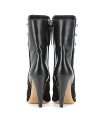 Isabel Marant Black Liv Suede And Leather Ankle Boots