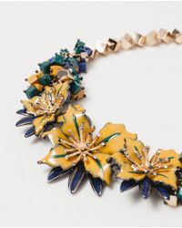 Zara | Blue Floral Crystal Necklace | Lyst