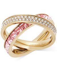 Michael Kors - Metallic Gold-tone Pavé And Square-cut Crystal Crisscross Ring - Lyst