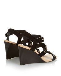Balenciaga - Black Stud-embellished Suede Wedge Sandals - Lyst
