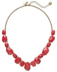 kate spade new york | Pink 12k Gold-plated Faceted Stone Frontal Necklace | Lyst