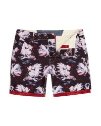 G-Star RAW - Blue Bronson Straight Fit Hawaiian Print Shorts for Men - Lyst