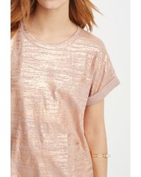 Forever 21 - Pink Metallic-brushed Tee - Lyst