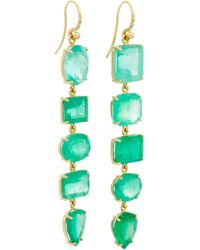 Irene Neuwirth | Green Emerald Gold Drop Earrings | Lyst