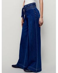 Free People - Blue Augusta Belted Flare - Lyst