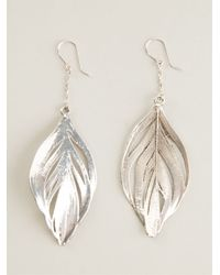 Aurelie Bidermann | Metallic Swan Feather Earrings | Lyst