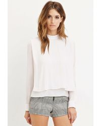 Forever 21 | Pink Draped Chiffon Blouse | Lyst