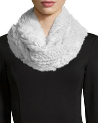 Vince | White Rabbit Fur Infinity Scarf | Lyst