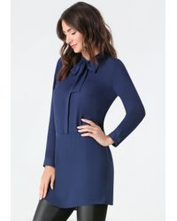 Bebe | Blue Tie Neck Tunic | Lyst
