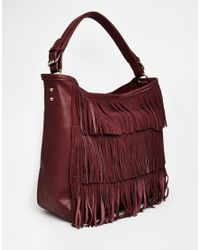 17d21d029d88 Lyst - Oasis Fringed Hobo Bag in Purple