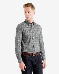 Ted Baker - Black Floral Printed Sport Shirt for Men - Lyst