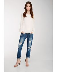 Forever 21 - Natural Contemporary Embroidered Mesh-paneled Blouse - Lyst