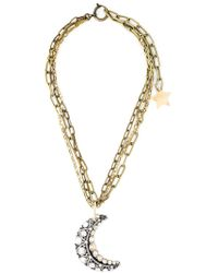 Lanvin - Metallic Moon Pendant Necklace - Lyst