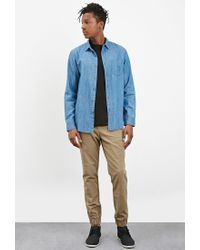 Forever 21   Blue Classic Chambray Shirt for Men   Lyst
