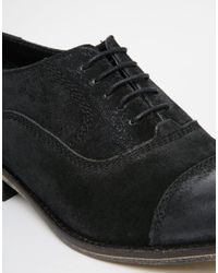 e877ae6d0a435 Lyst - ASOS Oxford Shoes In Burnished Black Suede in Black for Men