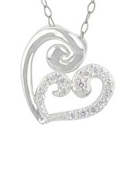 Lord & Taylor   Metallic Sweet Sterling Silver And Glitz Heart Pendant Necklace   Lyst