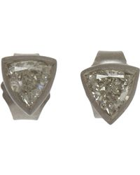 Malcolm Betts | Metallic Trillion Cut Diamond Stud Earrings | Lyst
