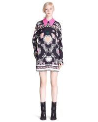MSGM - Multicolor Heart Print Shift Dress With Contrast Collar - Lyst