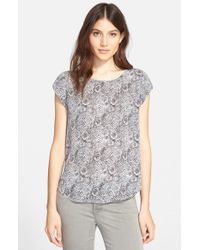 Joie - Gray 'Rancher B' Print Silk Top - Lyst