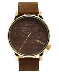 Komono - Brown 'winston' Round Leather Strap Watch for Men - Lyst