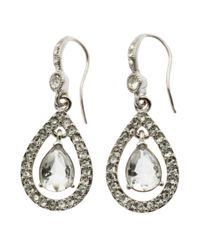 Carolee | White Pave Teardrop Drop Earrings | Lyst