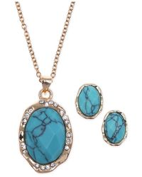 Jones New York - Blue Gold-tone Reconstituted Turquoise And Crystal Jewelry Set - Lyst