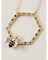Alison Lou - Metallic 'Bee In The Trap' Necklace - Lyst