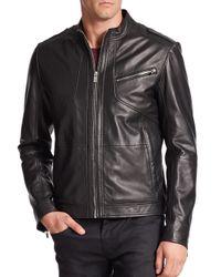 Saks Fifth Avenue - Black Lanex Leather Biker Jacket for Men - Lyst