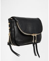 Oasis | Black Fold Over Zip Detail Cross Body Bag | Lyst
